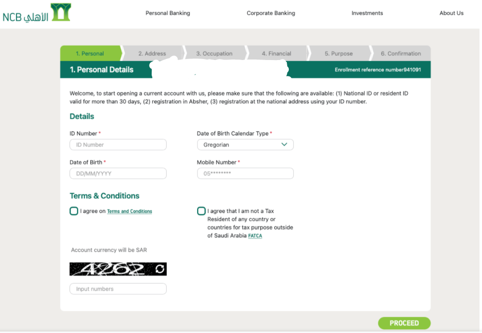 How to Open a new Bank Account with Saudi National Bank online?